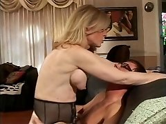 Blonde Milf strips for youthfull dude who sucks her hard nipples