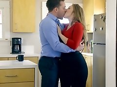 Ample titted wifey Lena Paul is porked by horny husband in the kitchen