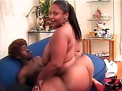 Chubby caramel female has a ultra-kinky black midget ravaging her pink snatch