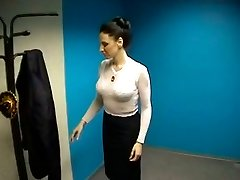 Disgusting but huge-boobed dark-haired strips on webcam to boast of her droopy boobs
