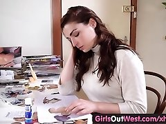 Girls Out West - Huge-titted unexperienced toys her hairy snatch