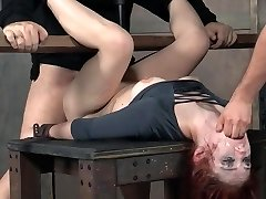 Redhead BDSM throat and puss pounding