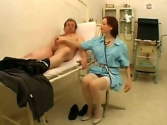 Lusty dark-haired nurse Julie knows how handle her patients
