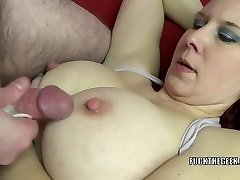 Redhead MILF Lia Shayde takes all the cum in her mouth