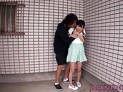 Facefucked petite japanese jizzed in gullet
