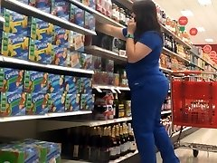 Chubby Pawg Cougar in Blue Scrubs