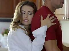 Torrid housewife Melissa Moore gets beaten right in the kitchen