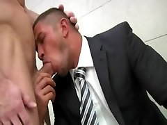 Poolside homosexual dream with horny businessman
