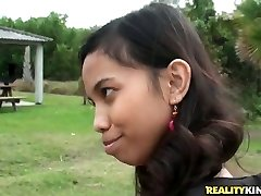 Nice Indian chick Amanda Putri picked up in the street got money for sex