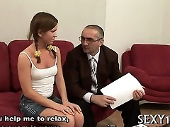Edible babe is getting spooned by horny aged teacher
