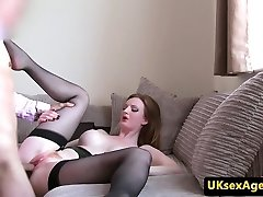Bigtitted ginger brit fucks on audition couch