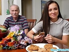 Rimmed teenage beauty takes grandpa cum in mouth