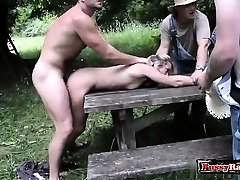 Steamy pornstar outdoor with cumshot