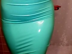 Latex Attempt ON - Teal Pencil Skirt