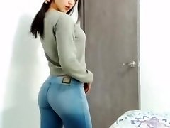 college girl in cock-squeezing denim without pocket