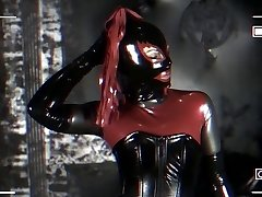 girl tries full enclosure in latex