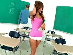 Adorable and torrid eighteen year old sucked a cock in her classroom
