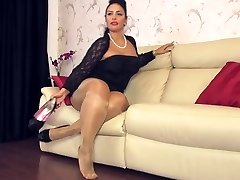 black miniskirt boots shiny pantyhose