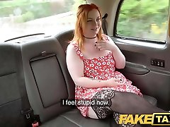 Faux Taxi Ginger cock monster inhales and anal
