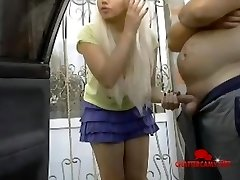 Fat Guy and Dippy Blonde Teen Outdoor Hj