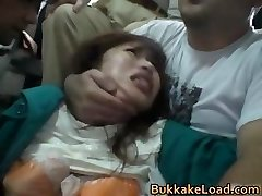 Cute Asian stunner attacked on a bus rail part6