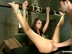 Restrained babe Mia gets her pussy finger porked and stretched