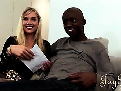 This cute blonde can't get enough of his big ebony schlong and