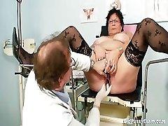 Big-titted elder woman gyn clinic exam