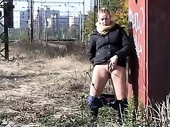 Hot women get off panties for a pee in public