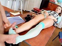 Teacher get a feet wank