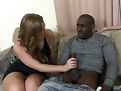 Cuckold luvs licking pussy of his GF Nata Lee whose anus is impaled on a firm black pole