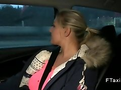 Inexperienced wanks with huge tits in fake taxi