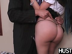 Young secretary Raven Bay earns facial cumshot with her tasty muff