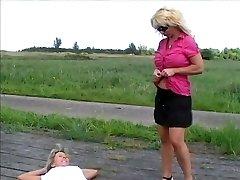 women pee outdoor