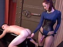 Hot English Gal Pounds Youthful Man's Ass with Strapon