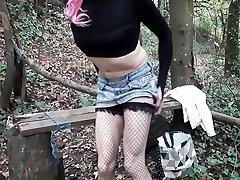 Crossdresser pinkish hair woodland dildo fun