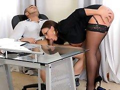 Amazingly voracious brunette boss in glasses sucks her employee's strong dick