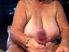 Grannie giving blowjob POV