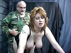 Knife, dildo, and tools pack up the asshole on this bondage & discipline torture anal marionette