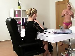Lesbians oral and strap on act in casting