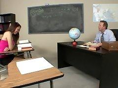 Kinky schoolgirl pulverizes her hot teacher after class