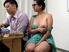 Sexy smoking steamy black-haired with big boobs and a humungous rounf ass
