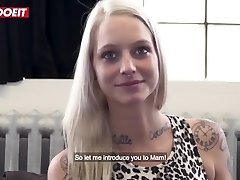 LETSDOEIT - French Tatted Hot Blondie Drilled Hard on The Casting Couch
