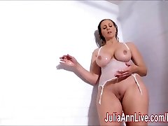 Sexy Cougar Julia Ann Lathers Her Big Udders in Shower!