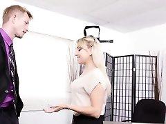 WANKZ - Cute Platinum-blonde Secretary Fucks Her Boss!