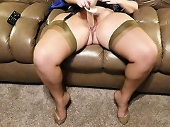Wife creaming her favorite toy