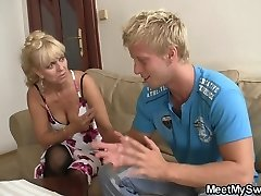 Funny game with blonde teen leads family Three-way