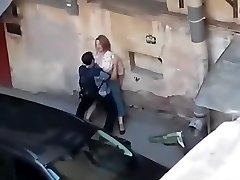 Spying a fat girl get porked from balcony