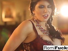 Smoking cutie Romi Rain takes care of her humid pussy