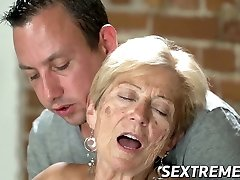 Old seductress eaten out before good-sized dick insertion